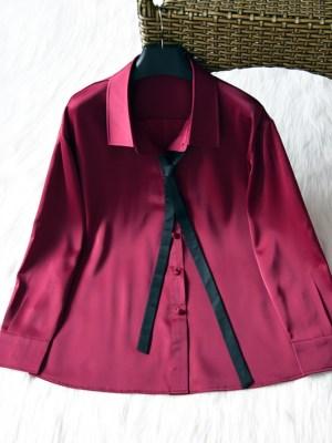 IU Red Satin Silk Shirt (2)