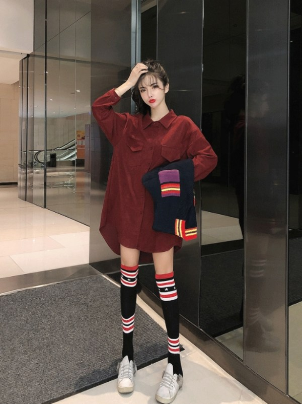 Red Shirt For Striped V-Neck Vest | IU
