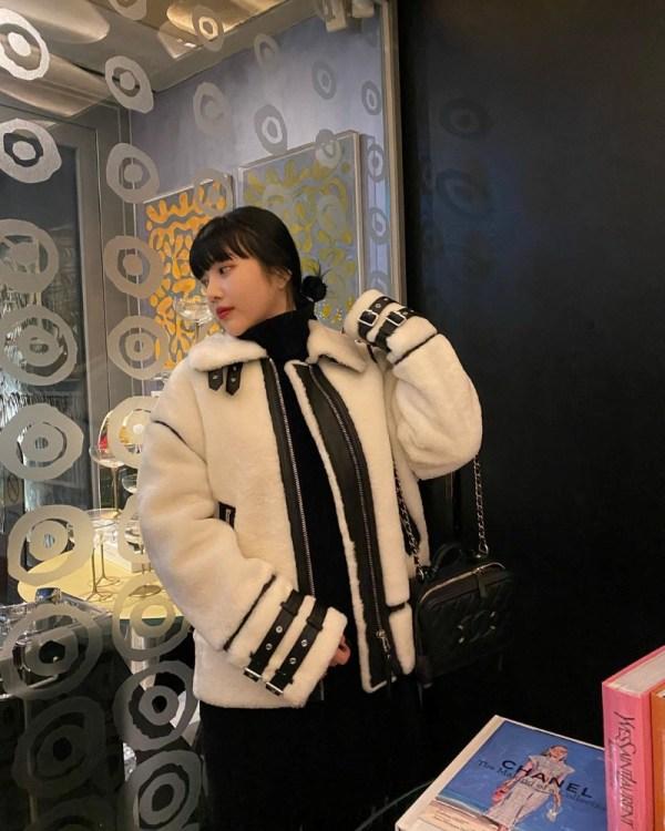 Belted Collar And Wrists Designed Coat | Joy – Red Velvet