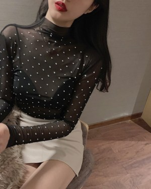 Lisa Rhinestone Bottoming See-through Top (6)