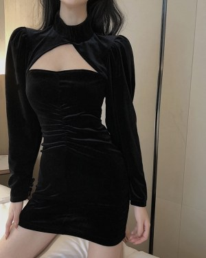 Miyeon Black Velvet Chest Cut Dress (10)