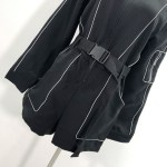 Outlined Black Zipper Belted Bodysuit | Soojin – (G)I-DLE