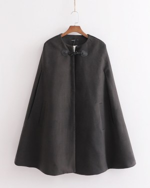 Wendy Black Cape Coat With Pockets (1)