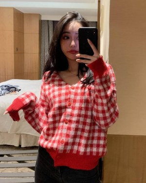 Wendy Red Plaid Grid Cardigan (30)