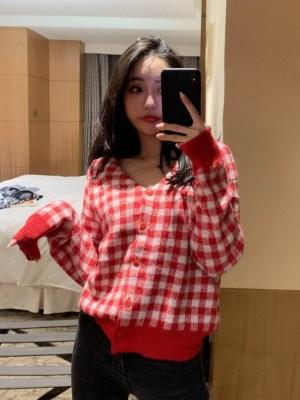 Wendy Red Plaid Grid Cardigan (30)