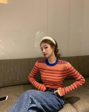 Wendy Striped Grid Long Sleeve Sweater (11)
