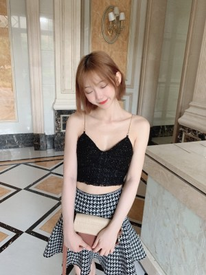Yeri Tweed Strap Black Crop Top (7)