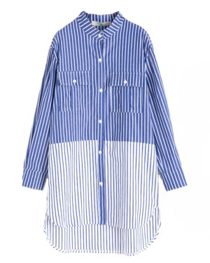 Yuna Striped Blue White Shirt (6)