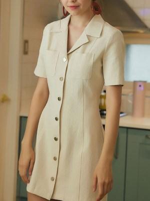Dahyun Classic Style Khaki Color Dress 1