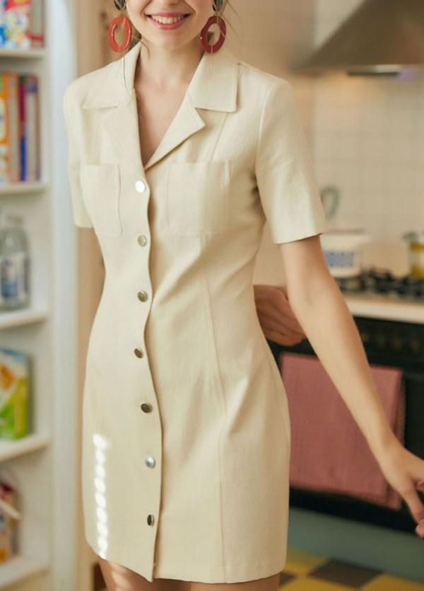 Classic Style Khaki Color Dress   Dahyun – Twice