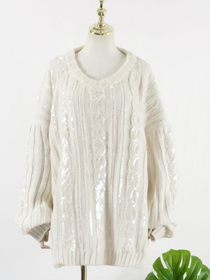 IU Shiny Sequined Big Knots Sweater (1)