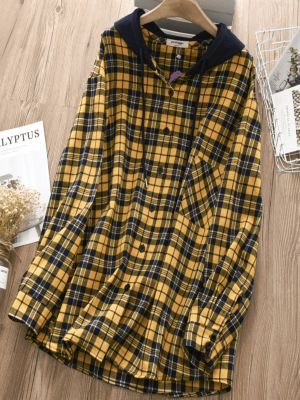 Jeongyeon Hooded Flannel Oversize Sweatshirt 1