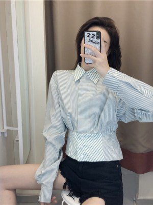 Jihyo Retro Style High Waist Bandage Shirt 4