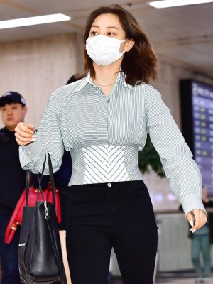 Retro Style High Waist Bandage Shirt | Jihyo – Twice