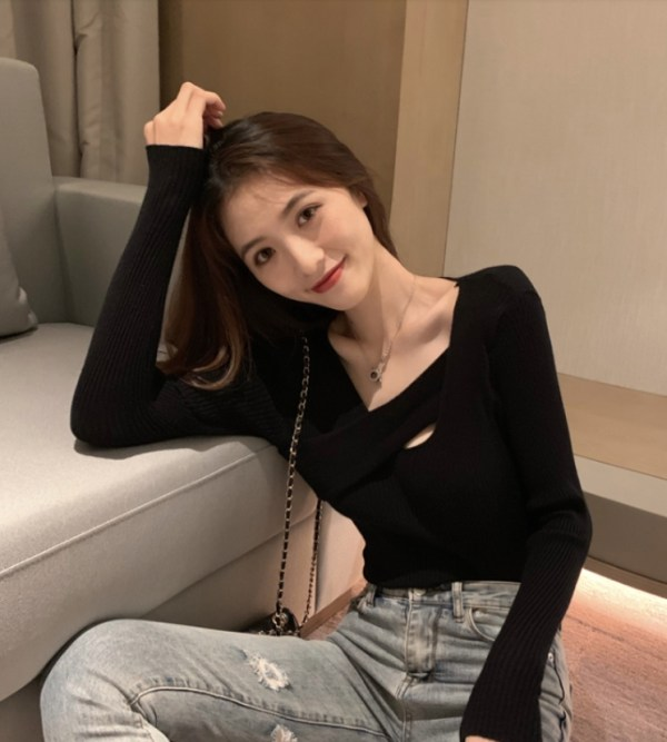 Irregular-cut Neckline Textured Sweater | Joy – Red Velvet