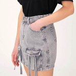 Grey Denim with Front Pocket Skirt | Lia – ITZY