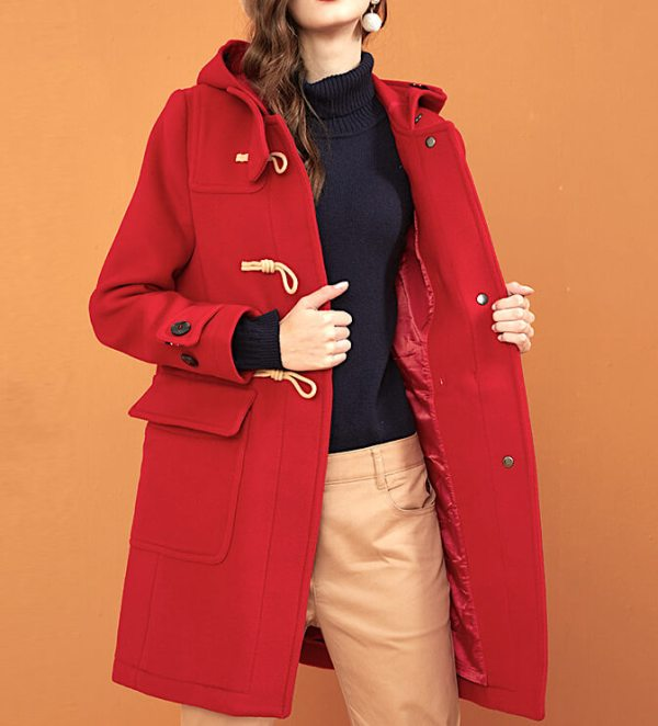 Classic Red Woolen Coat with Hoodie | RM – BTS