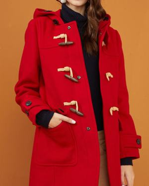 RM Classic Red Woolen Coat with Hoodie 5