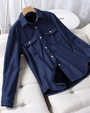 Xiumin Classic Denim Long Sleeve Shirt 4