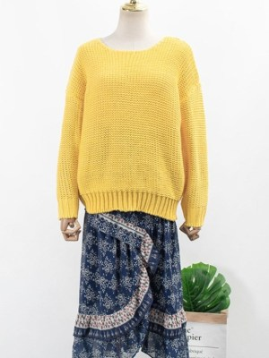 Yoon Se Ri Yellow Knit Sweater & Blue Floral Irregular Cut Skirt (1)