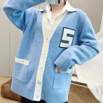 Low V-neck Varsity Style Cardigan | Jennie –  Blackpink