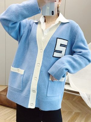 Jennie Low V-neck Varsity Style Cardigan 7