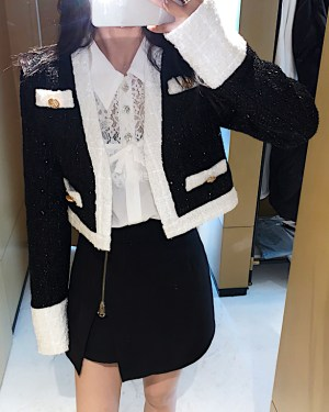 Jisoo Cropped Embelished Long Sleeve Jacket 8