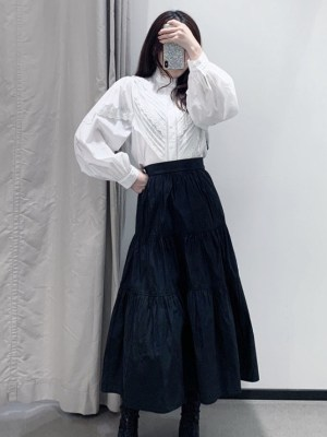 Momo Black Crumpled Layered Skirt (1)