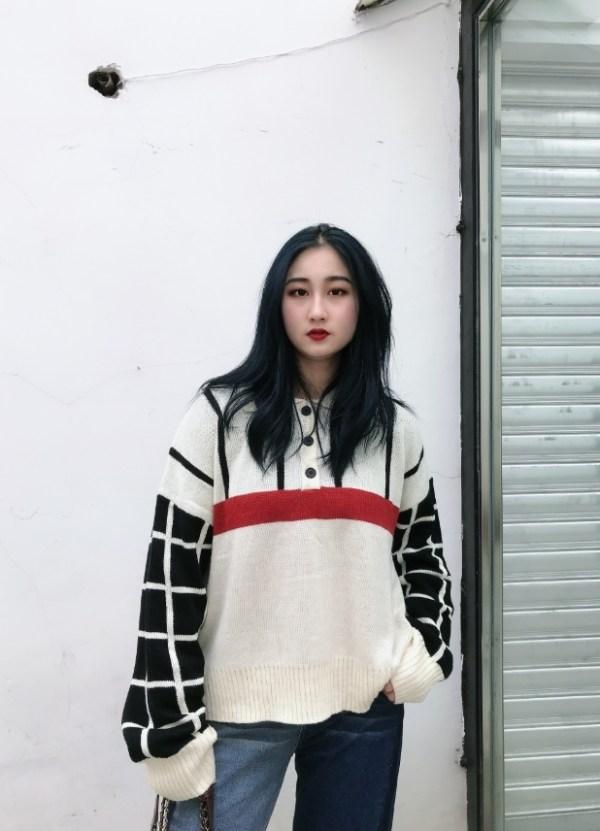 Checkered Board Knit Polo Sweater | Momo -Twice