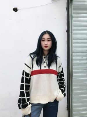 Momo Checkered Board Knit Polo Sweater (8)