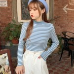 Striped Semi Turtle Neck Sweatshirt | Moonbyul – Mamamoo