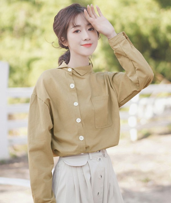 Assymetrical Khaki Bottoming Shirt