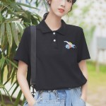 Black Polo With Cute Embroidery