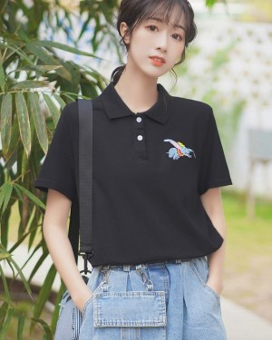 Black Polo With Cute Embroidery (2)