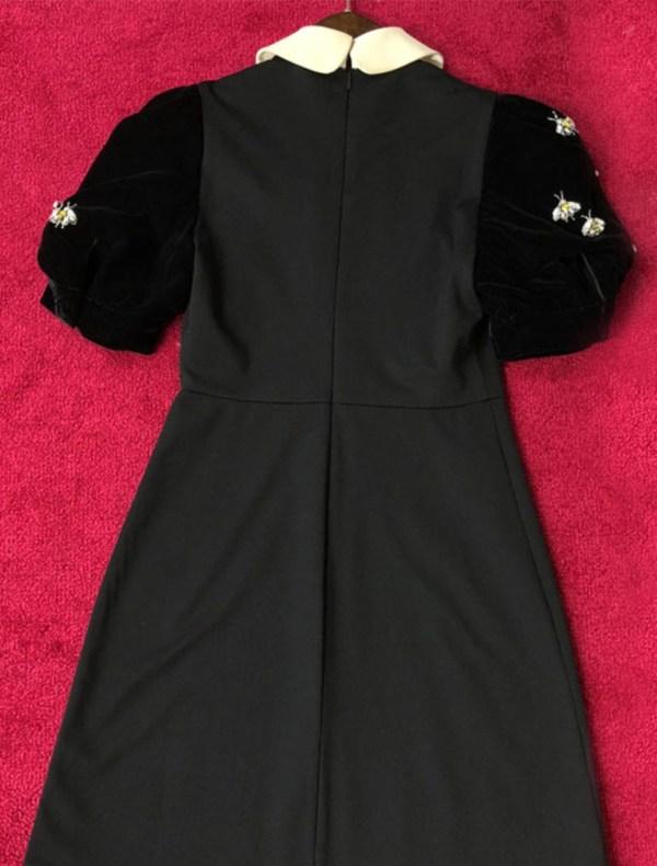 Bee Embellished Velvet Short Sleeve Dress | Chaeyoung – Twice