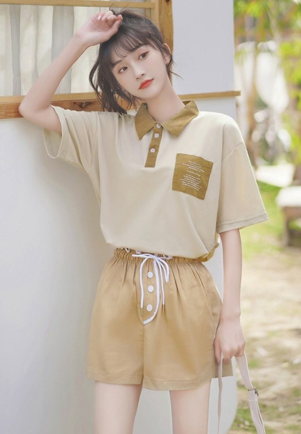 Classic Khaki T-Shirt With Pocket
