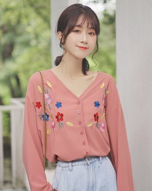 Colored Cherry Blossom Low V-neck Blouse 00004