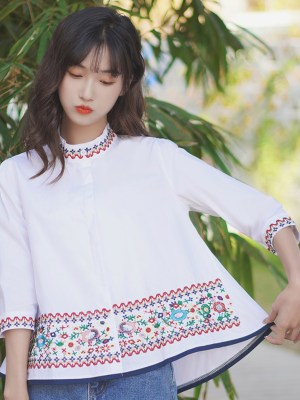 Floral Embroidered Band Collar and Sleeves Shirt 00007