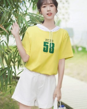 Hooded Drawstring Short-Sleeved T-shirt