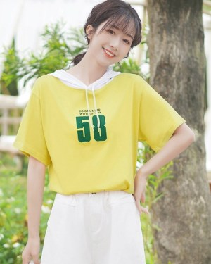 Hooded Drawstring Short-Sleeved T-shirt (7)