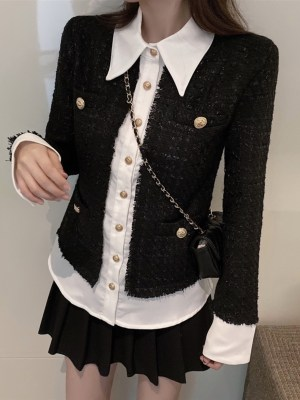 Jennie Black Tweed with Gold Buttons Jacket 00004