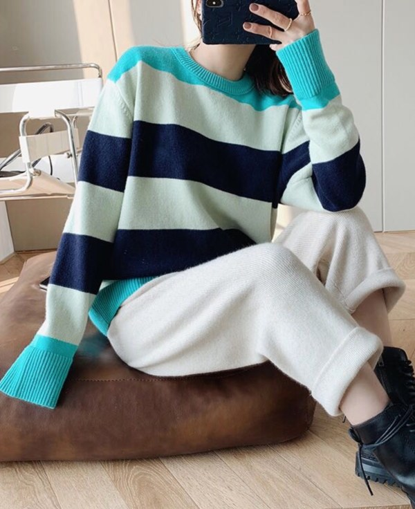 Turquoise Shoulder And Hem Multicolor Sweater | Jeongin – Stray Kids