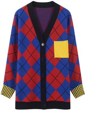 Jihyo Bright Colors Argyll Patterned Oversized Cardigan 00007