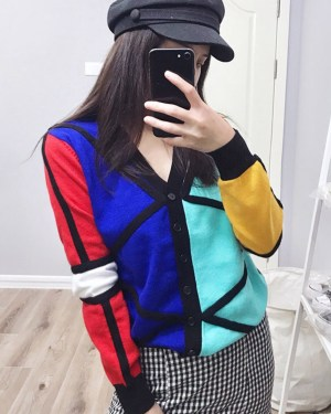 Jimin Geometric Shapes Colour Block Cardigan 00008
