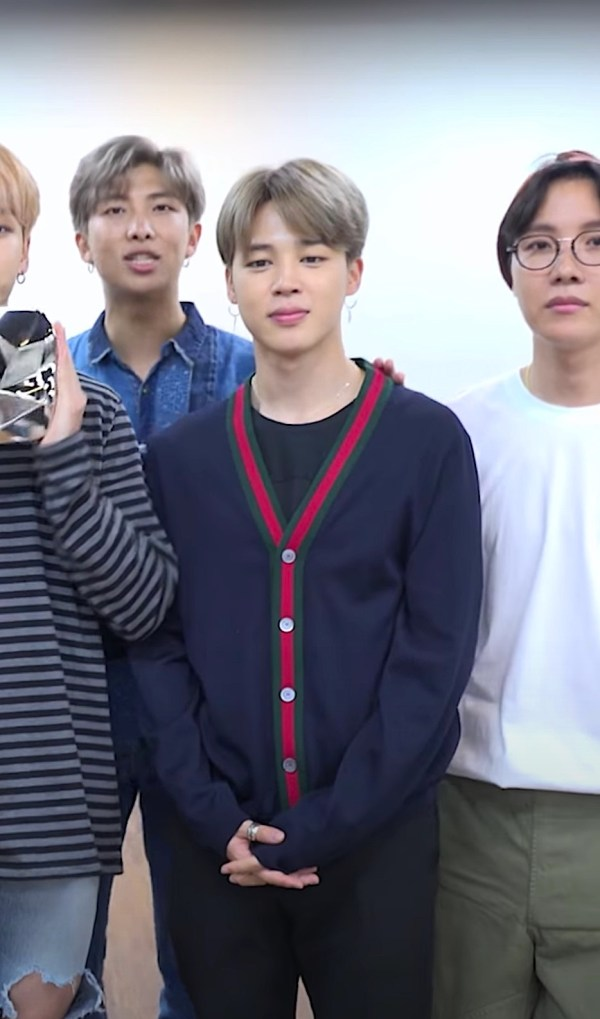 Red Lined Navy Cardigan | Jimin – BTS