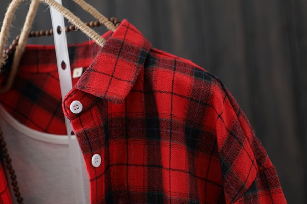 Red Flannel Mid Length Shirt | Jo Yi So – Itaewon Class