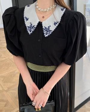 Joy Embroidered Doll Collar Bubble Sleeve Shirt 00014