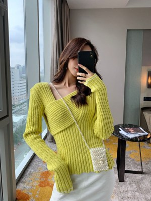 Joy Lime Green Thick Ribbed Sweater 00011