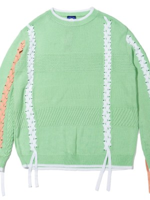 Joy Orange and White Lace-up Sweater 00008