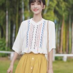 Line Patterns Band Collar Blouse